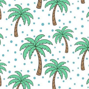 Palm trees - white with blue dots