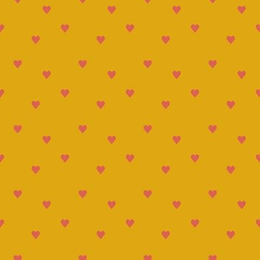 Mustard pink hearts