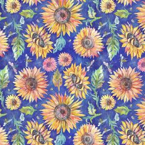 Sunflowers on Indigo