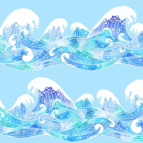 Rolling Ocean Waves Watercolor Collage