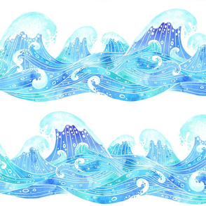 Rolling Ocean Waves in Watercolour Collage White