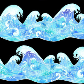 Rolling Ocean Waves Watercolor Collage Black