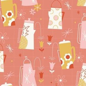 Kitschy Kitchen Teapots on Pink