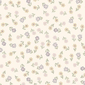 Colorful doodle garden flower ditsy design on a cream background