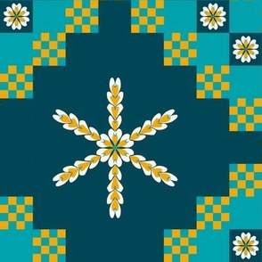 Triple Irish Chain - Daisy Stars Cheater Quilt for Dolls