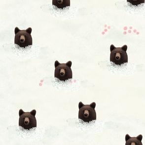 Cute Bear in Flower Meadow
