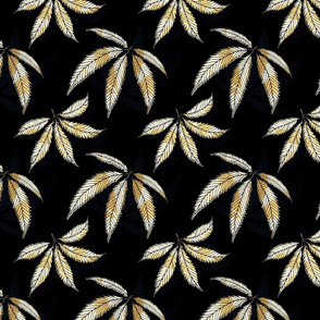 Black and Gold Hemp Leaf Vintage