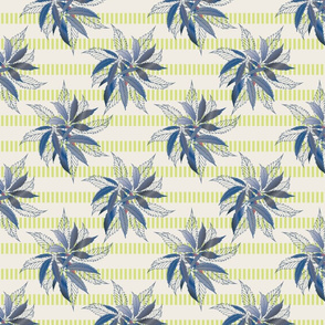 Vintage Blue Leaves  with striped background