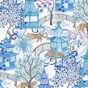 Custom Party Leopards in Pagoda Forest blue teal