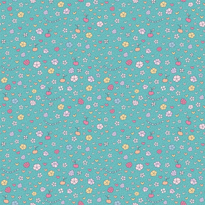 ditsy flowers on teal