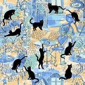 Black cat caffe blue yellow