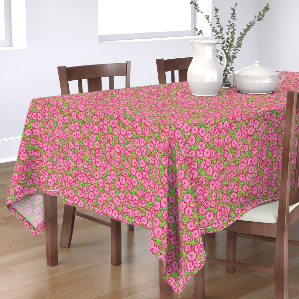 Bantam Rectangular Tablecloth featuring Summer Cycle red  by spellstone