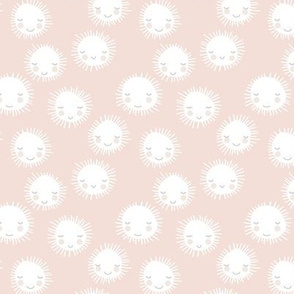 Sweet sunny kawaii sky smiling sleepy sun in soft beige sand white neutral nursery