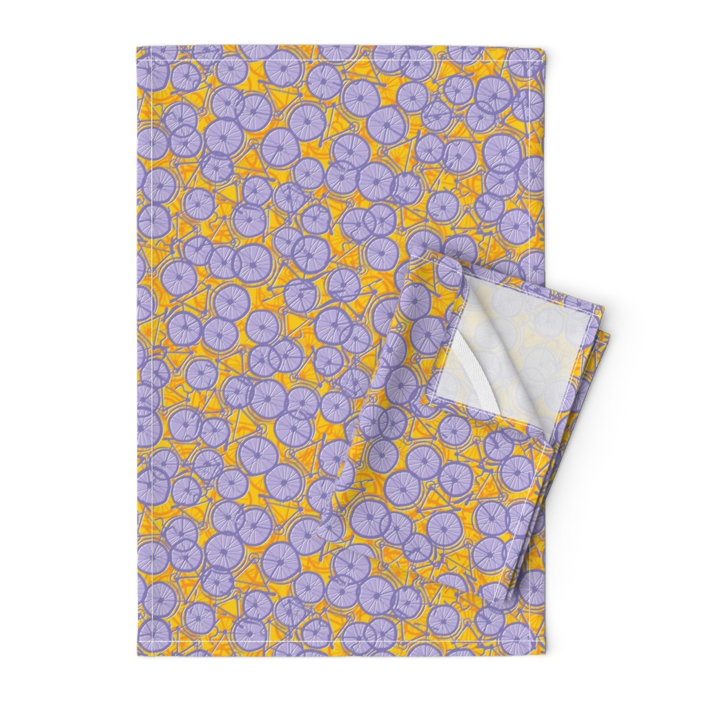 Orpington Tea Towels featuring Summer Cycle lilac by spellstone