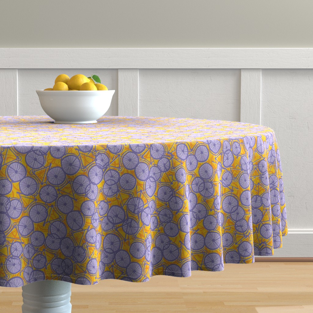 Malay Round Tablecloth featuring Summer Cycle lilac by spellstone