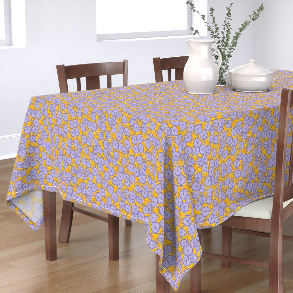Bantam Rectangular Tablecloth featuring Summer Cycle lilac by spellstone