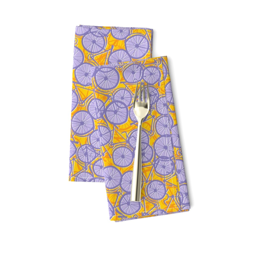 Amarela Dinner Napkins featuring Summer Cycle lilac by spellstone