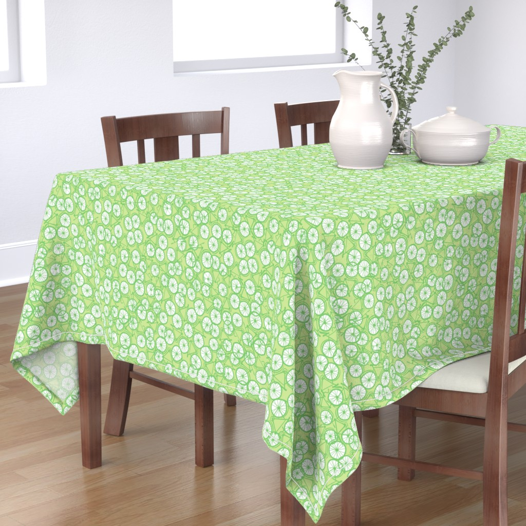 Bantam Rectangular Tablecloth featuring Baby Bicycle Limegreen by spellstone