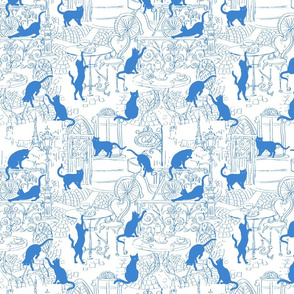 Cats caffe white blue