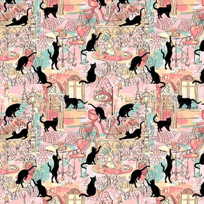 cats caffe pink green small scale