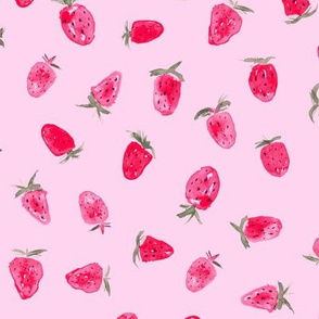 So sweet strawberry ★ pink watercolor berries for cute baby girl's nursery or kitchen