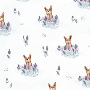 Cute Fox in Flower Meadow