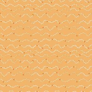 Palm Flower Tango Orange - wavy lines with flowers on an orange background