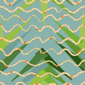 Palm Frond Tango - wavy lines with tiny orange flowers over palm fronds on a teal background