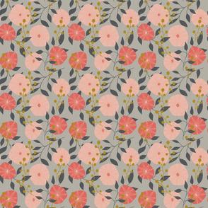 Folk Flowers - Grey