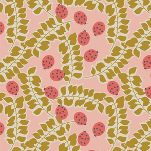 Ladybugs and Leaves - Pink