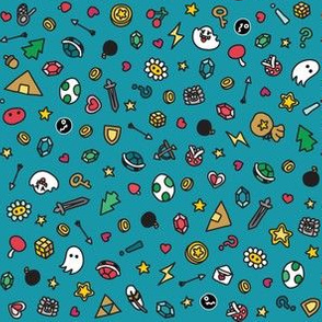 Gamer Doodles Ditsy Print Small Bright Blue 15cm Repeat