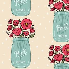 Mason Jar with Flowers - Yellow