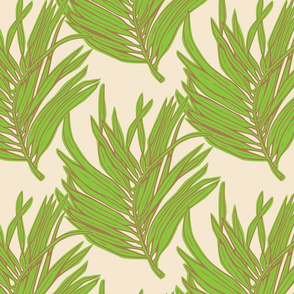 Thick Green Palm on Cream