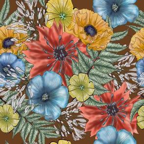 Wildflower Bouquet on Brown