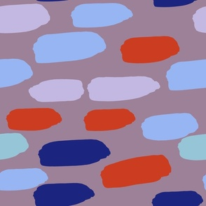 horizontal dash -- mauve_ red_ blue