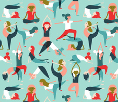 Yoga exercises on mint
