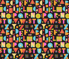 Color Block Alphabet-BLK