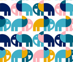 Color Block Elephants