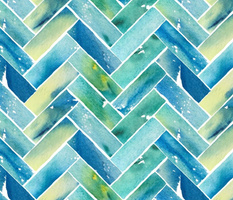Watercolor Herringbone - Blue and Yellow
