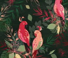 Tropical exotic birds and florals