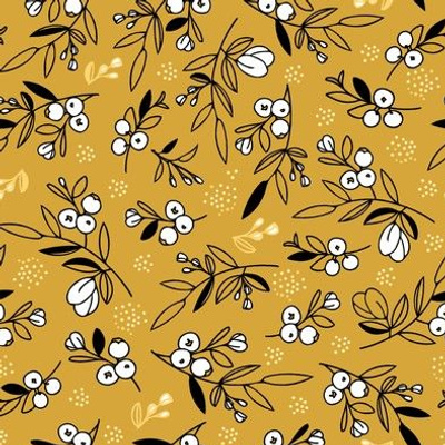 Mustard Woodland Berry Quilt Fabric