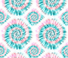 Summer Spiral Tie-Dye in Aqua and Pink