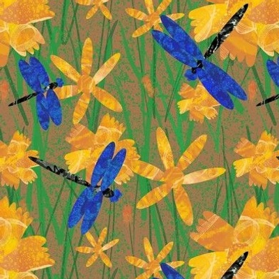 Dragonflies and flowers on brown small
