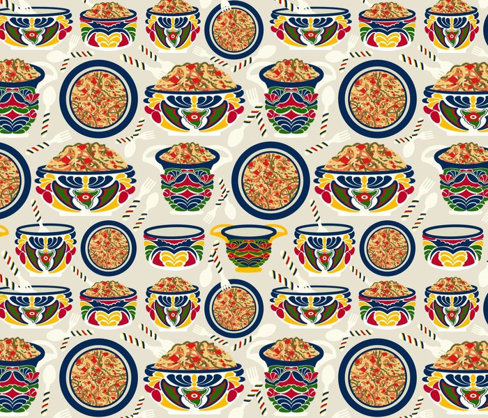 Talavera Bowls with Noodles